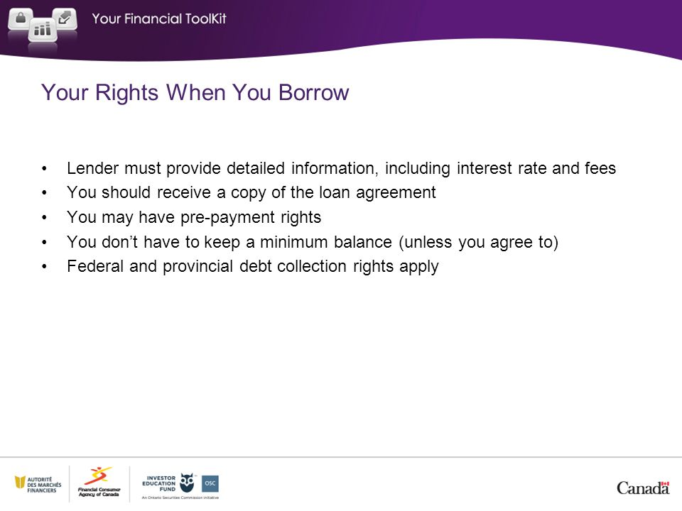 Your Rights When You Borrow