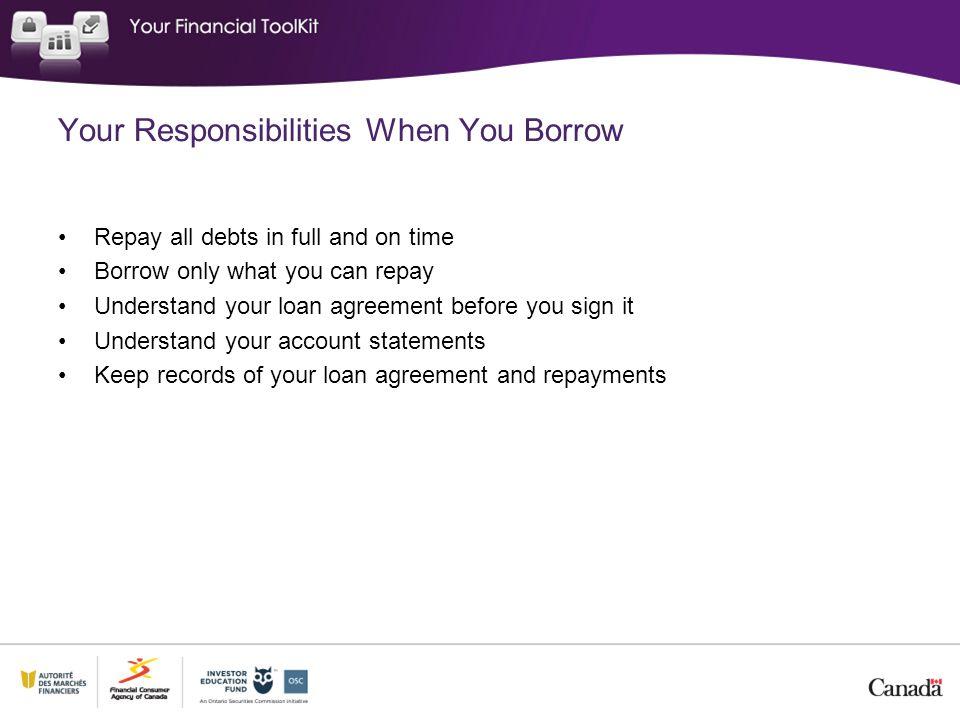 Your Responsibilities When You Borrow
