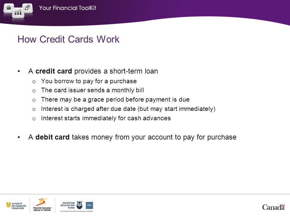How Credit Cards Work A credit card provides a short-term loan