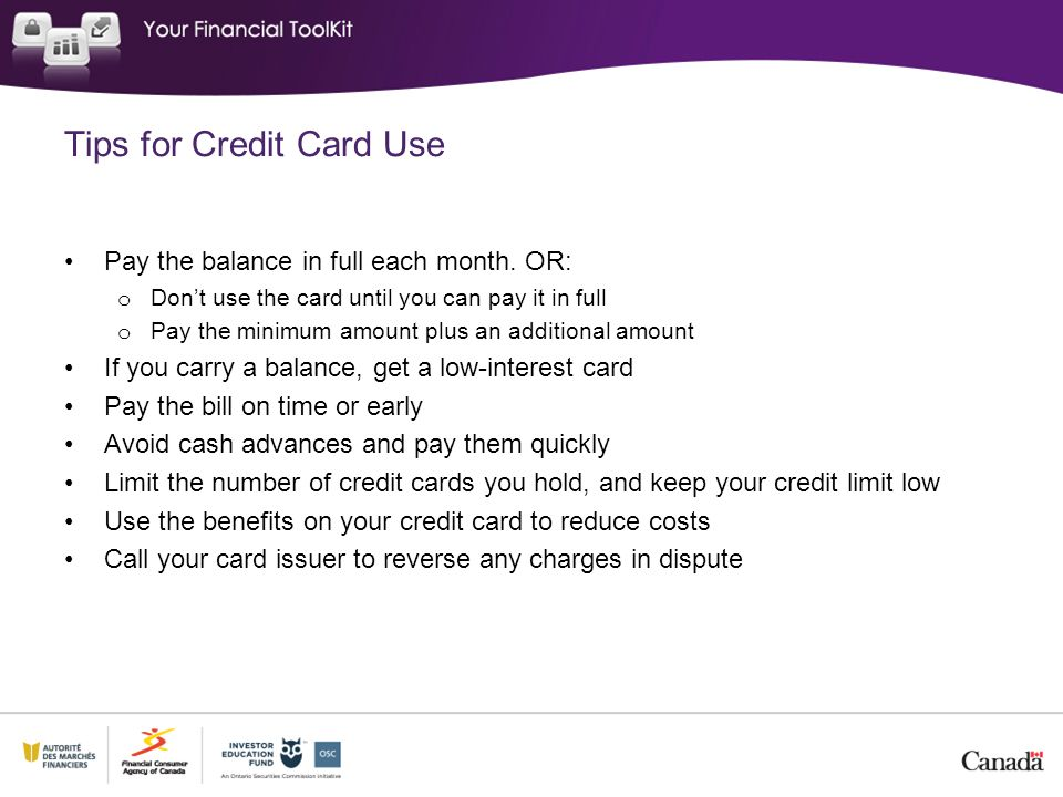 Tips for Credit Card Use