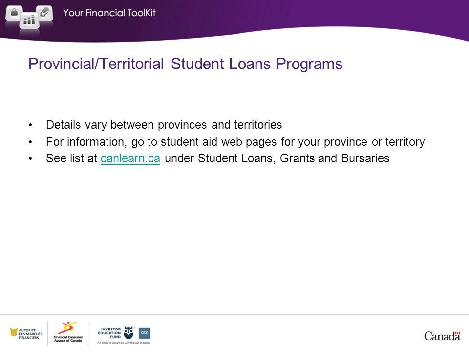 Provincial/Territorial Student Loans Programs