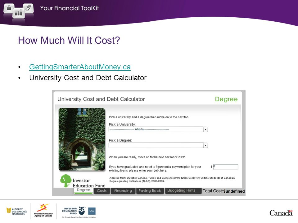 How Much Will It Cost GettingSmarterAboutMoney.ca