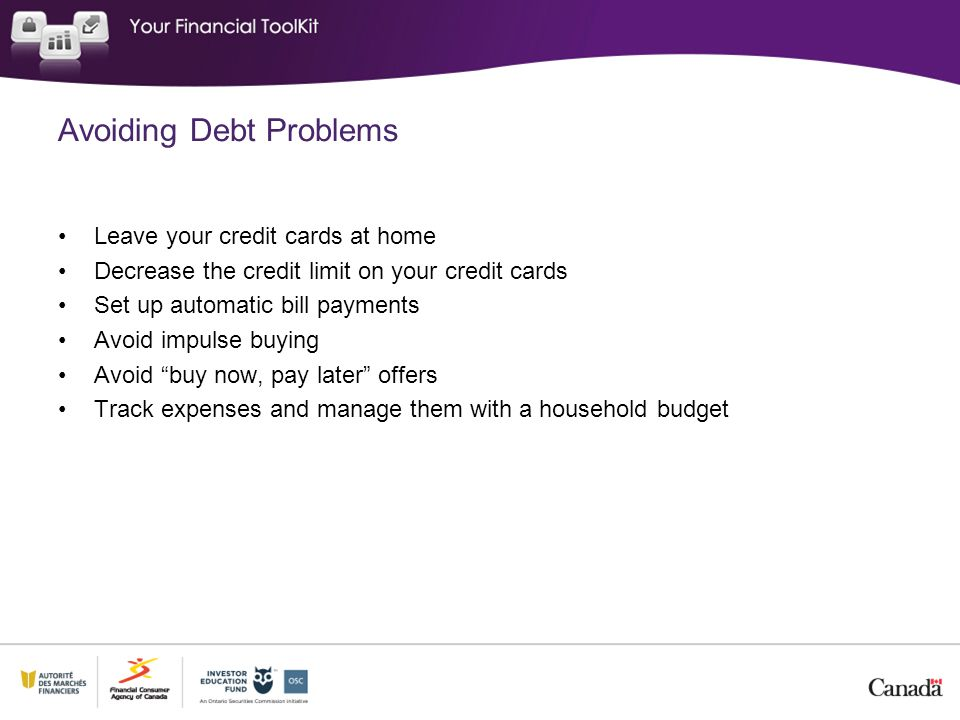 Avoiding Debt Problems