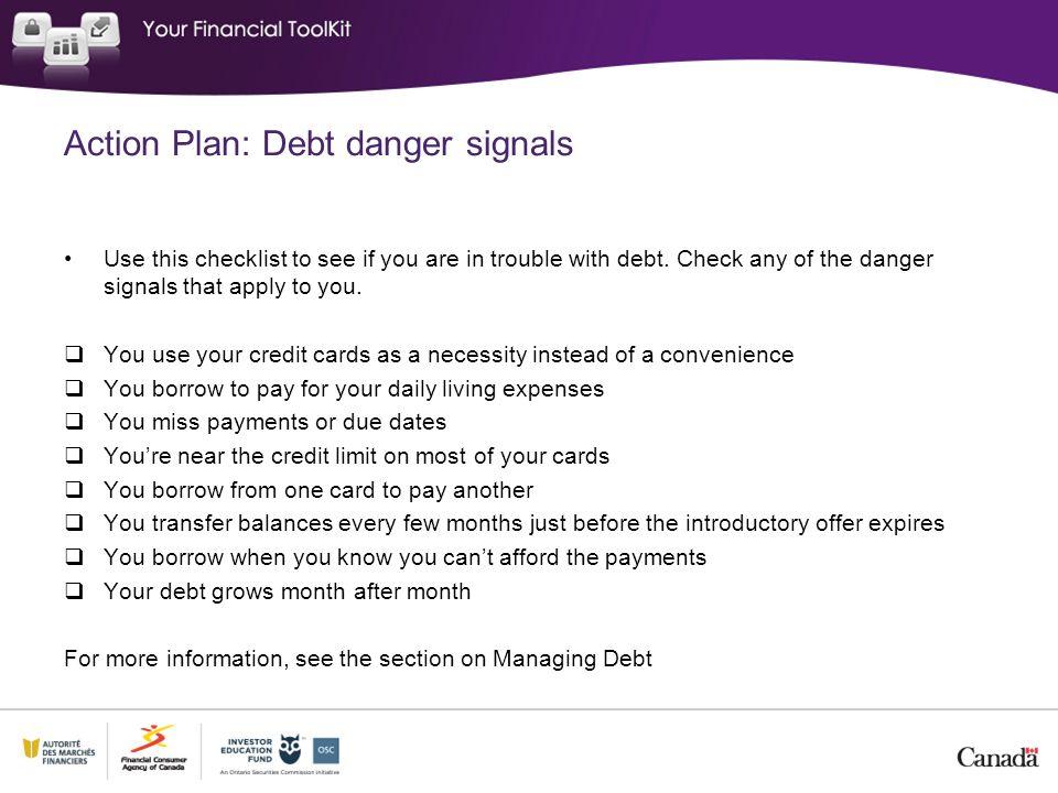 Action Plan: Debt danger signals
