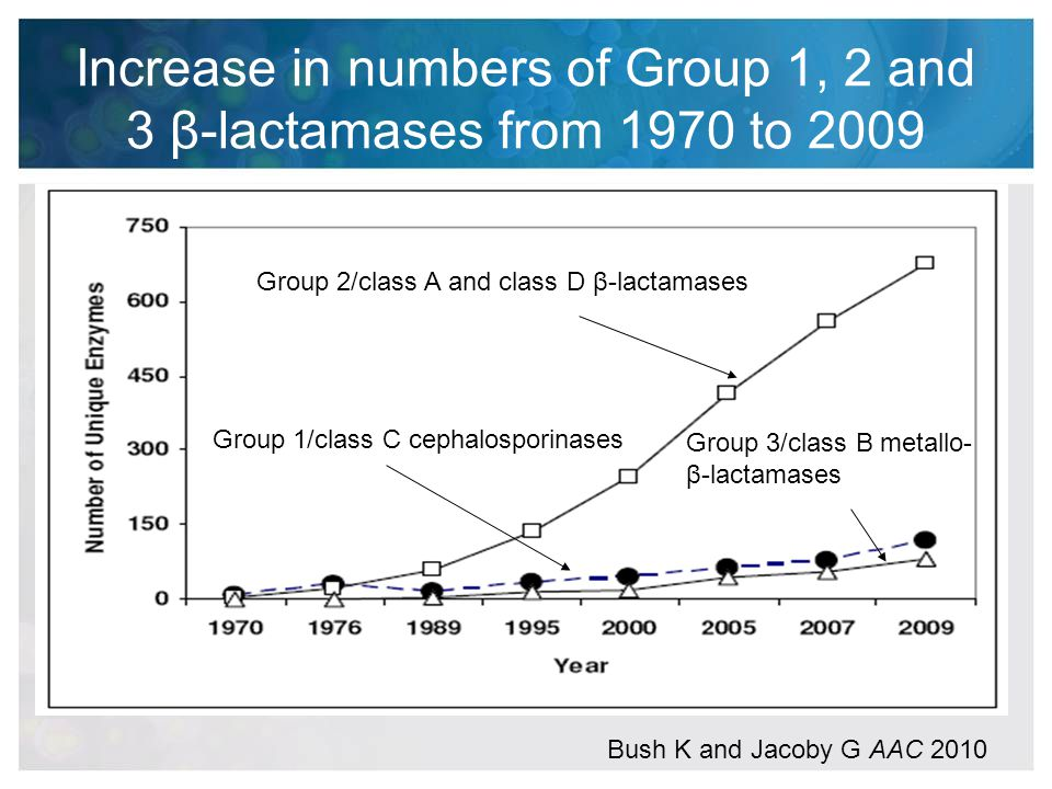Increase in numbers of Group 1, 2 and 3 β-lactamases from 1970 to 2009
