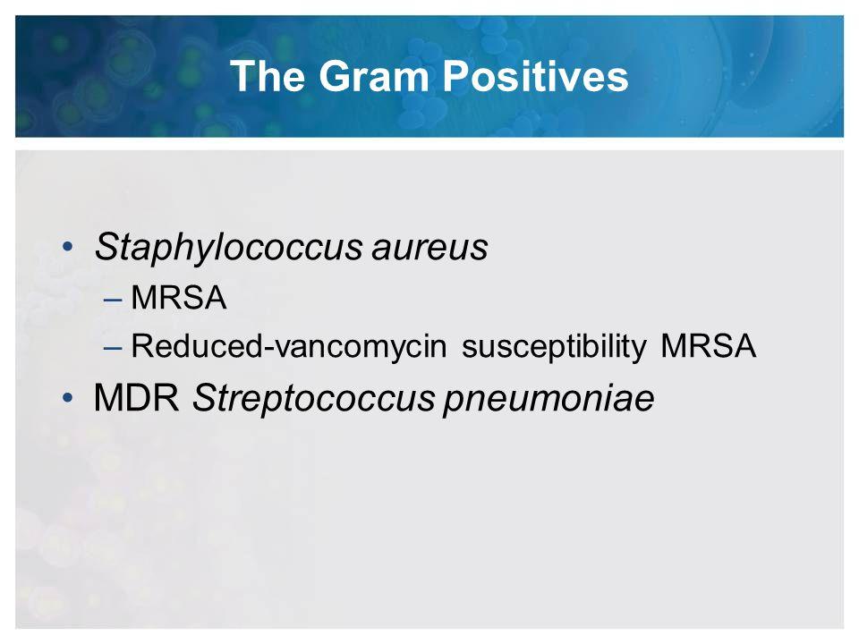 The Gram Positives Staphylococcus aureus MDR Streptococcus pneumoniae