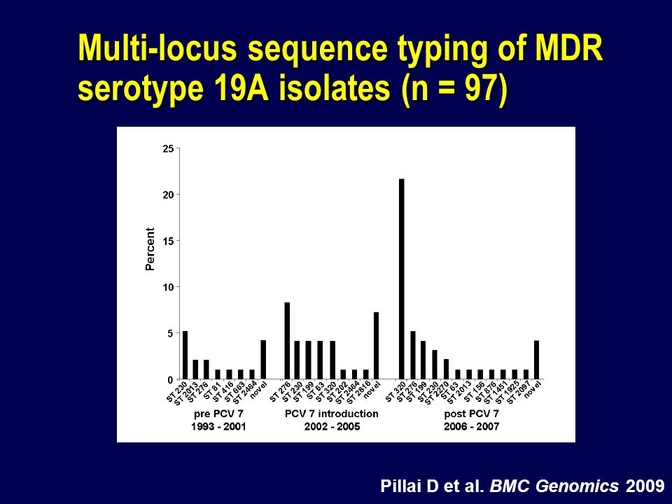 Multi-locus sequence typing of MDR serotype 19A isolates (n = 97)