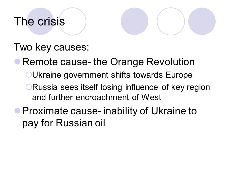 The crisis Two key causes: Remote cause- the Orange Revolution