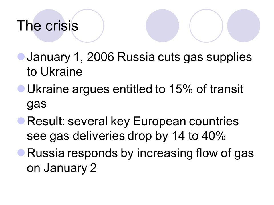 The crisis January 1, 2006 Russia cuts gas supplies to Ukraine