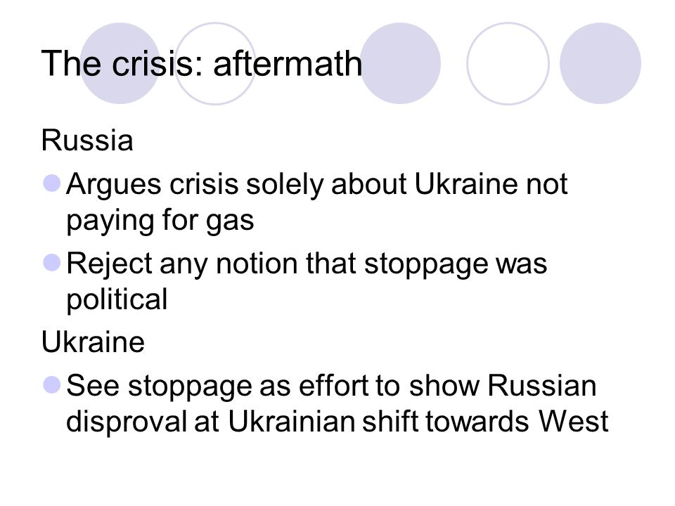 The crisis: aftermath Russia