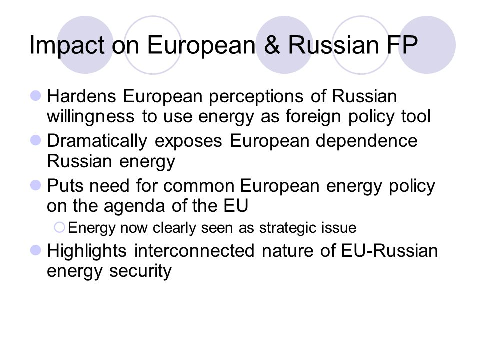 Impact on European & Russian FP