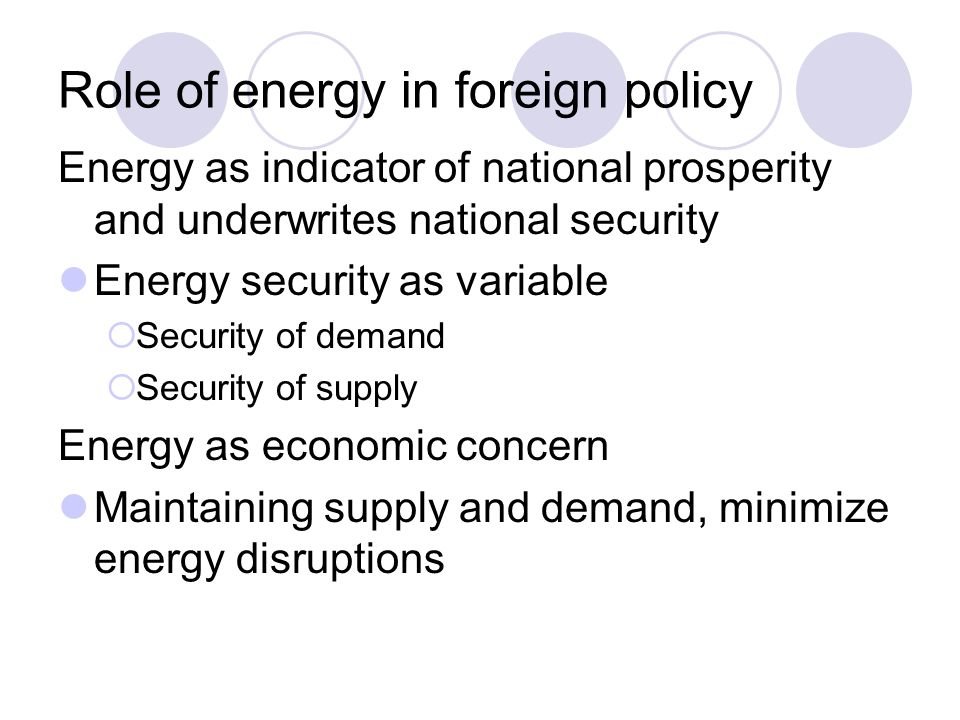 Role of energy in foreign policy