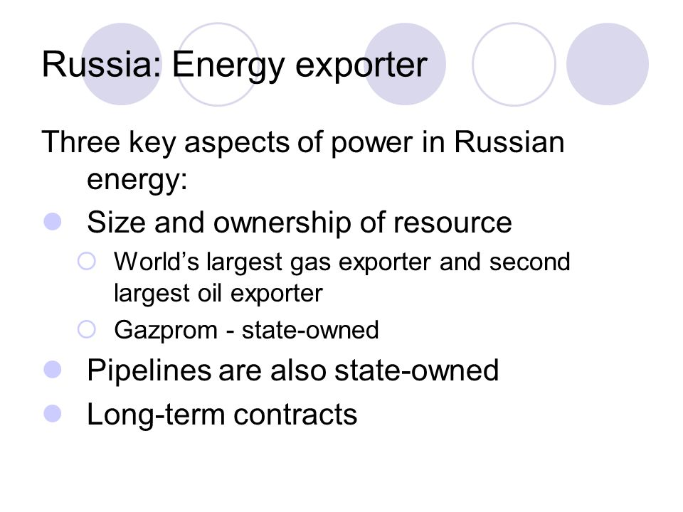 Russia: Energy exporter