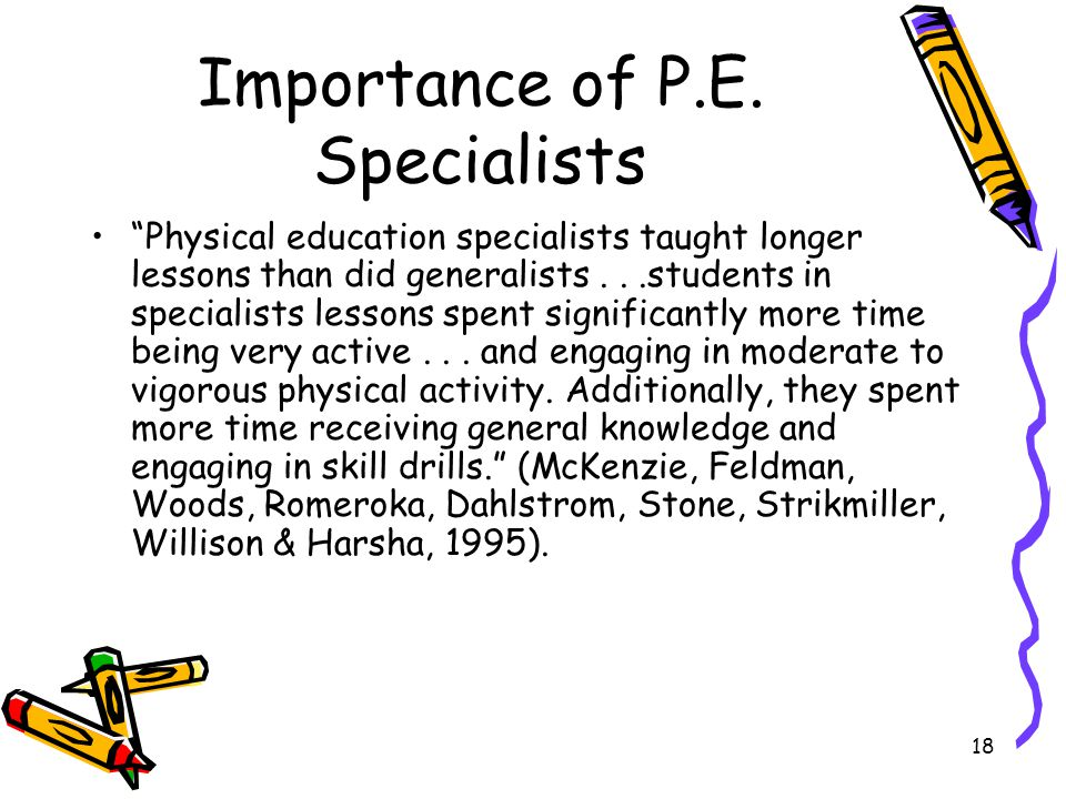 Importance of P.E. Specialists