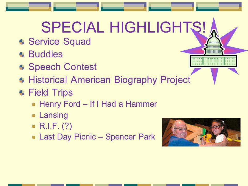 SPECIAL HIGHLIGHTS! Service Squad Buddies Speech Contest