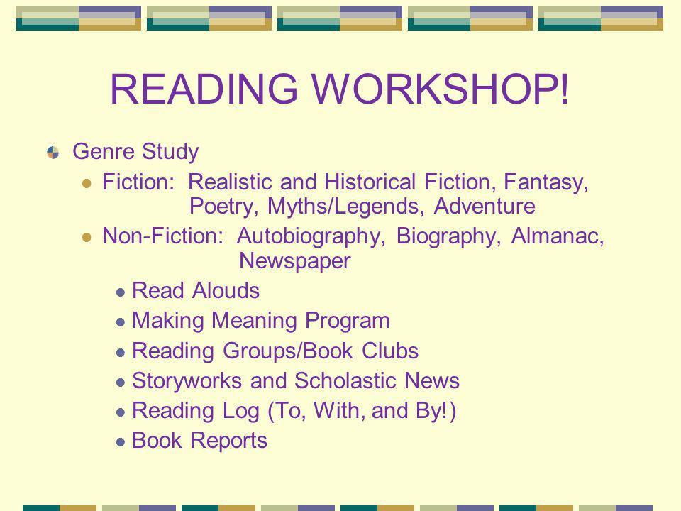 READING WORKSHOP! Genre Study