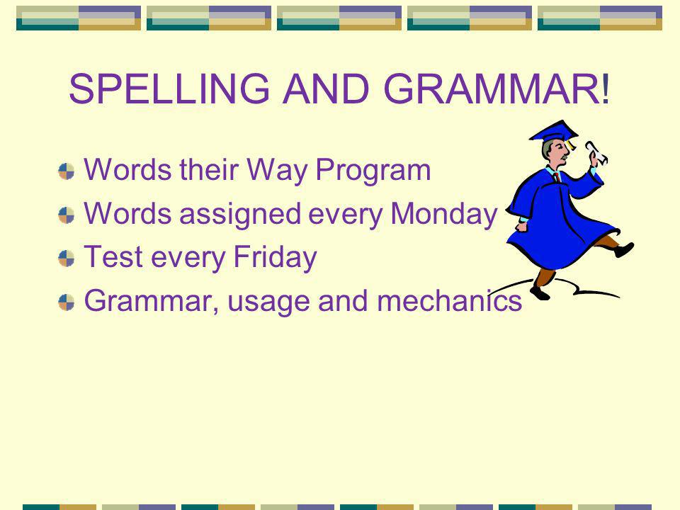 SPELLING AND GRAMMAR! Words their Way Program
