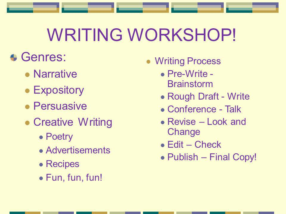 WRITING WORKSHOP! Genres: Narrative Expository Persuasive