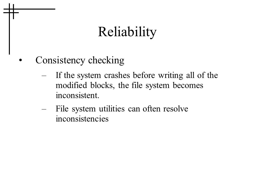 Reliability Consistency checking