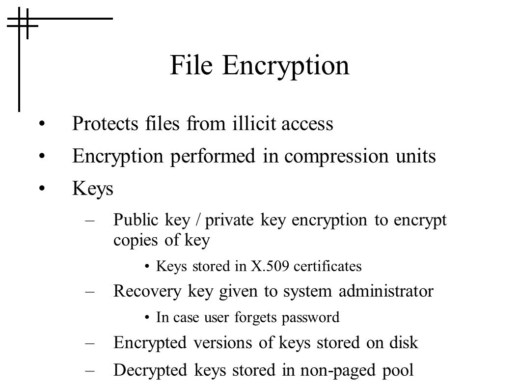 File Encryption Protects files from illicit access