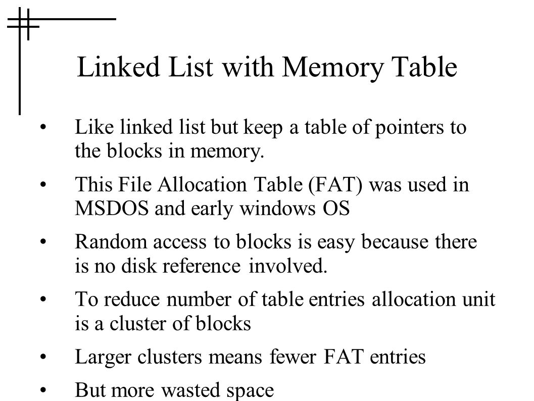 Linked List with Memory Table