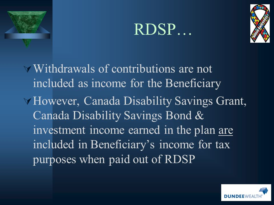 RDSP… Withdrawals of contributions are not included as income for the Beneficiary.