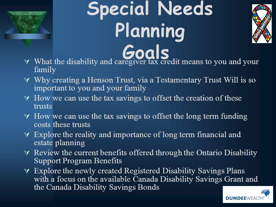 Special Needs Planning Goals