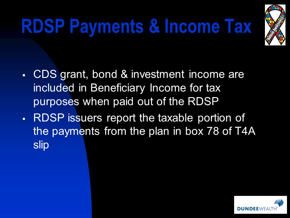 RDSP Payments & Income Tax