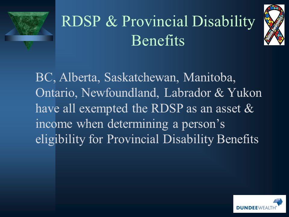 RDSP & Provincial Disability Benefits
