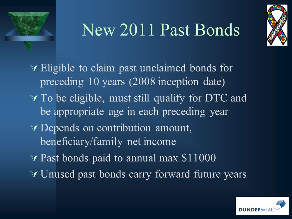 New 2011 Past Bonds Eligible to claim past unclaimed bonds for preceding 10 years (2008 inception date)