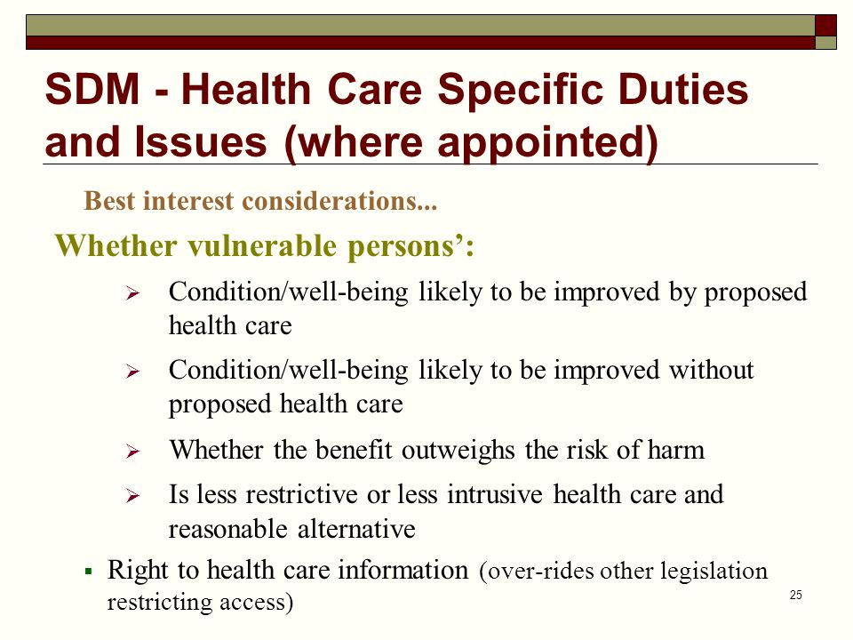 SDM - Health Care Specific Duties and Issues (where appointed)