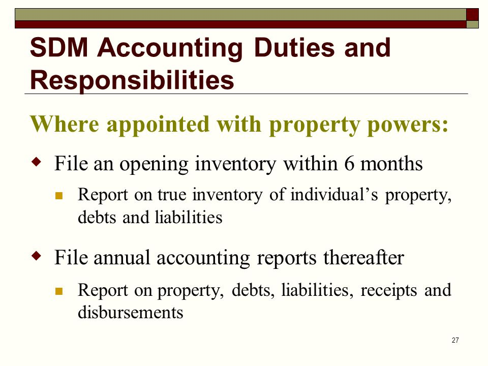 SDM Accounting Duties and Responsibilities
