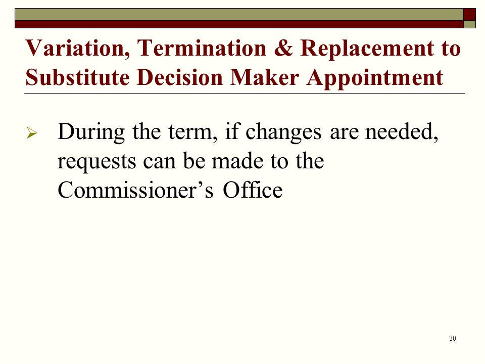 Variation, Termination & Replacement to Substitute Decision Maker Appointment