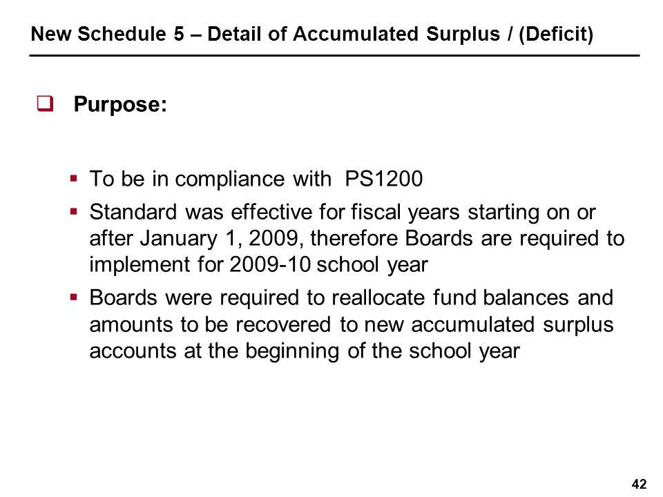 New Schedule 5 – Detail of Accumulated Surplus / (Deficit)