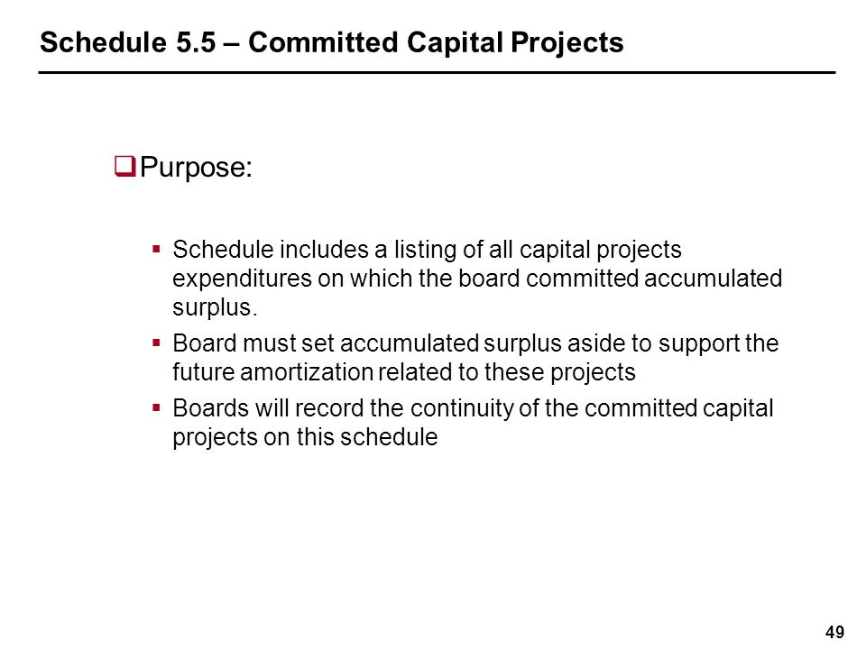 Schedule 5.5 – Committed Capital Projects