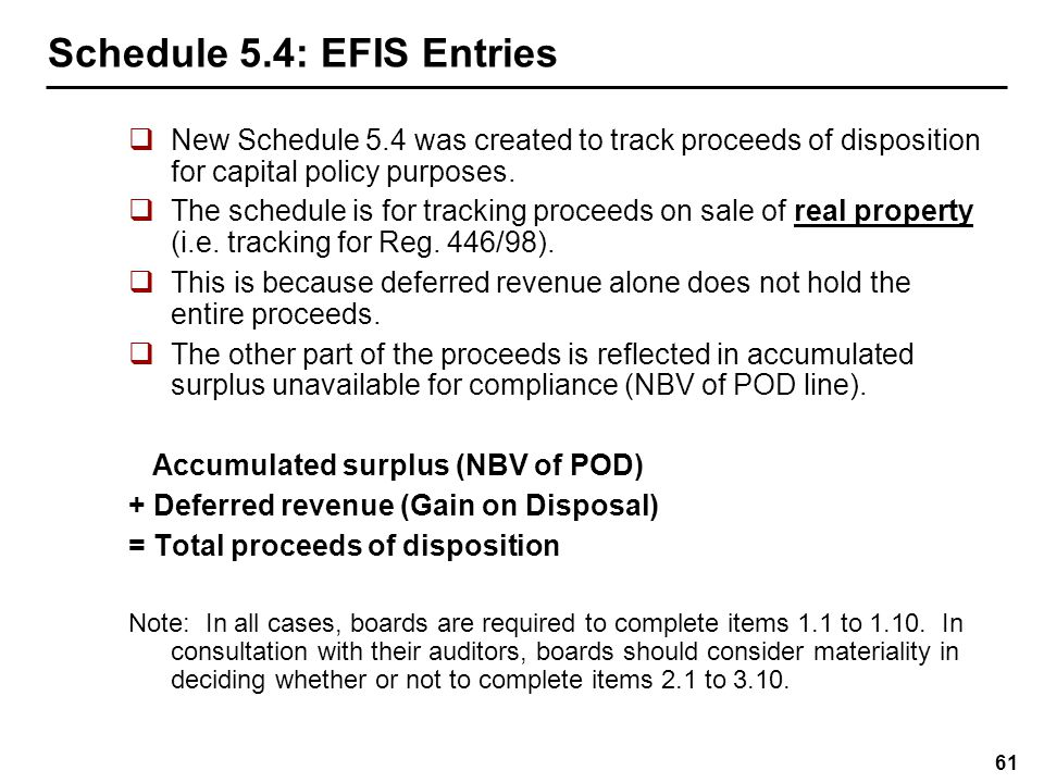 Schedule 5.4: EFIS Entries for Opening Balance