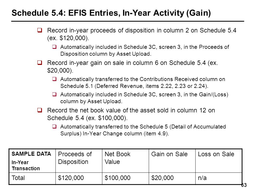 Schedule 5.4: EFIS Entries, In-Year Activity (Loss)
