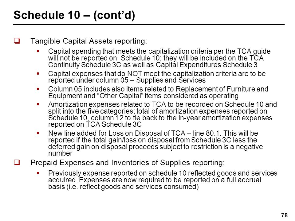 Schedule 10 ADJ - Adjustments for Compliance Purposes