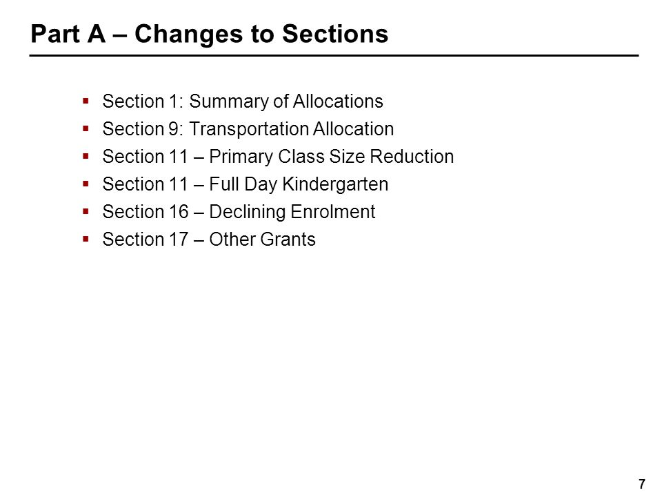 Section 1 – Summary of Allocations