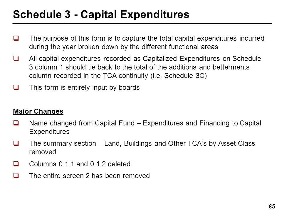Schedule 3 - Capital Expenditures
