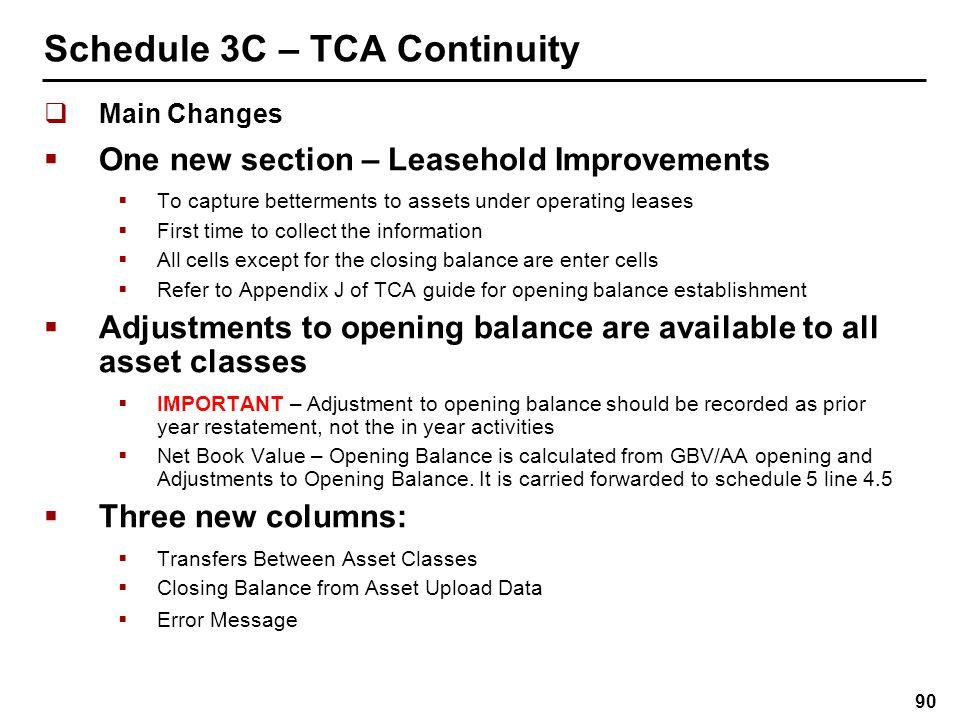 Schedule 3C – TCA Continuity New Columns
