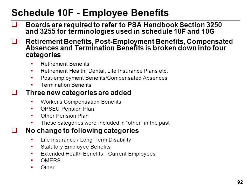 Schedule 10G – Benefits Obligations