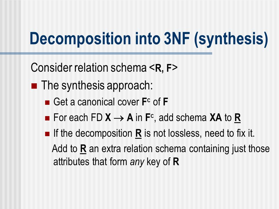 Decomposition into 3NF (synthesis)