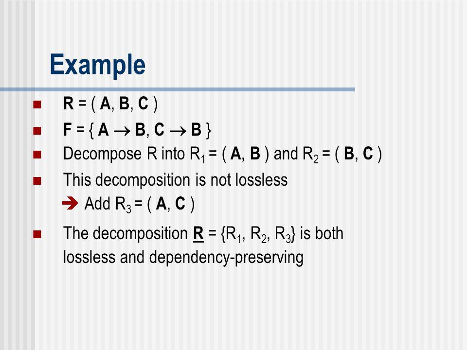Example R = ( A, B, C ) F = { A  B, C  B }
