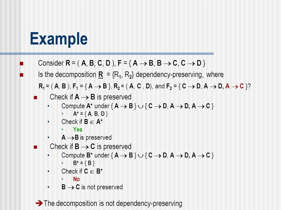 Example Consider R = ( A, B, C, D ), F = { A  B, B  C, C  D }