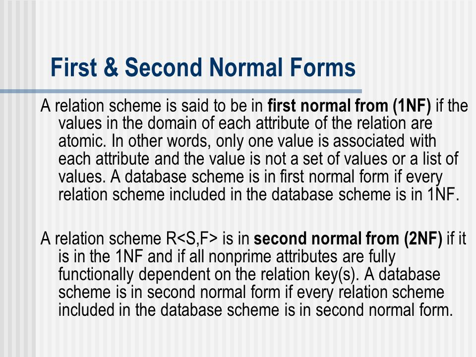 First & Second Normal Forms