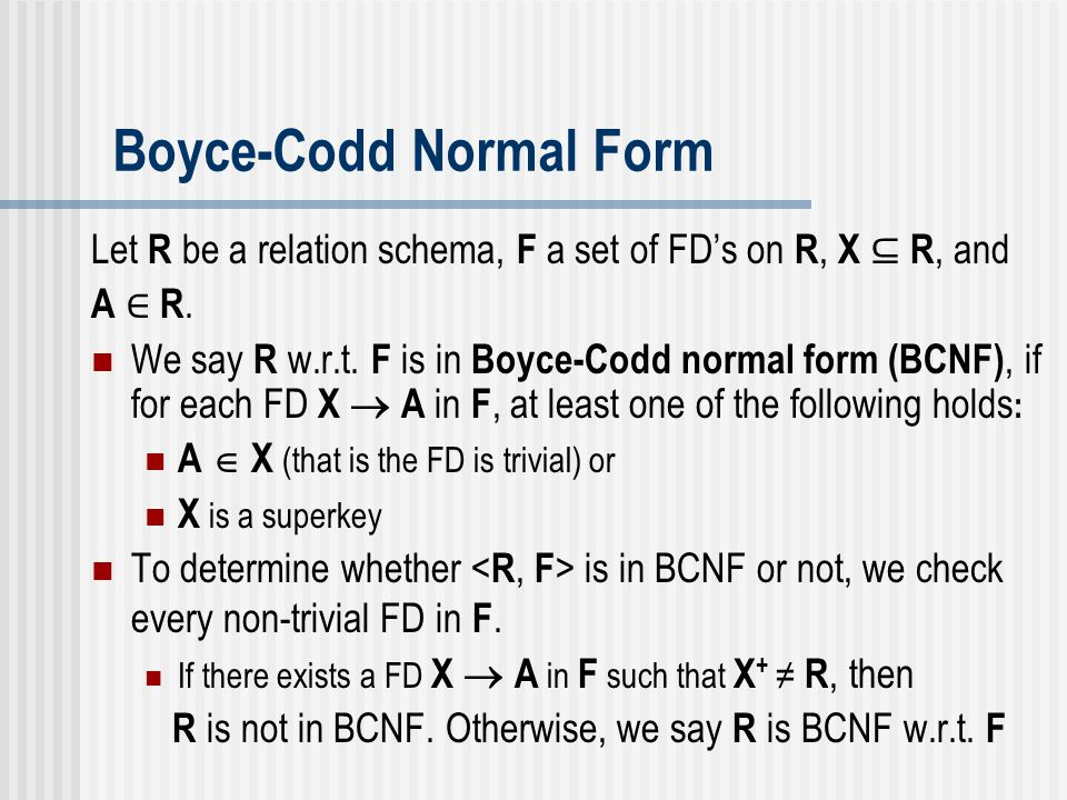 Boyce-Codd Normal Form
