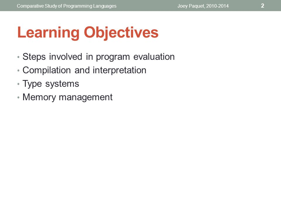 Learning Objectives Steps involved in program evaluation