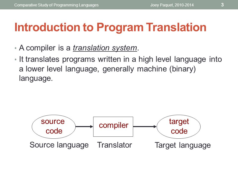 Introduction to Program Translation