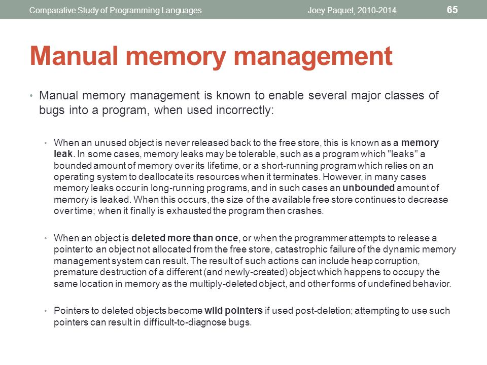 Manual memory management